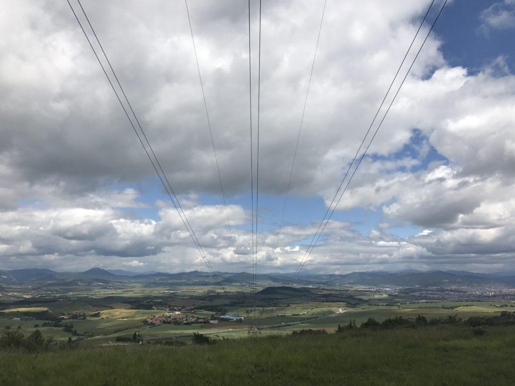 Wires travelling across the Camino de Santiago, Spain