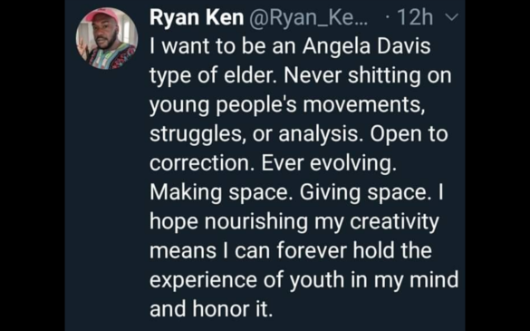 Screen Capture of Ryan Ken's Tweet